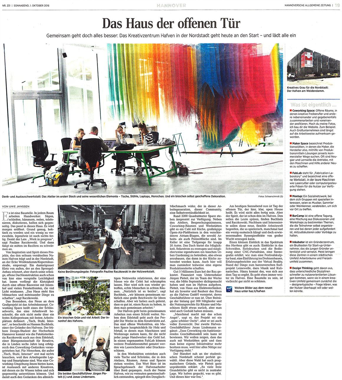 Beitrag der Hannoverschen Allgemeinen Zeitung vom 01.10.2016