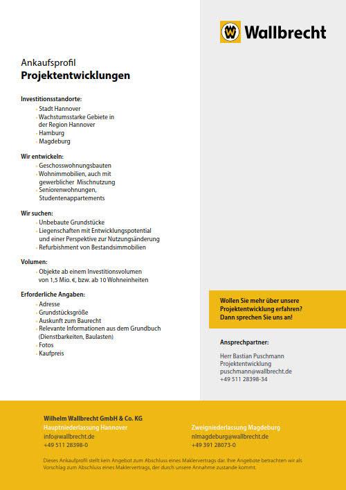 Ankaufsprofil Projektentwicklung der Wilhelm Wallbrecht GmbH & Co. KG